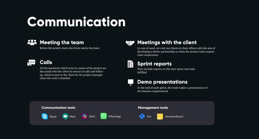 You can meet the team and make calls using various tools, enabling more communication.