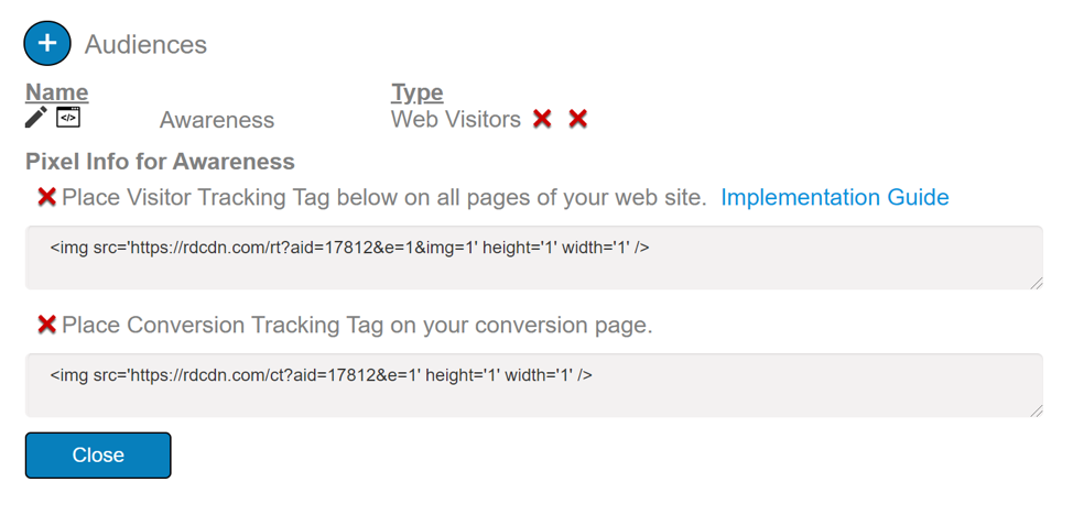 The visitor tracking tag places a cookie on the browsers of your website visitors.
