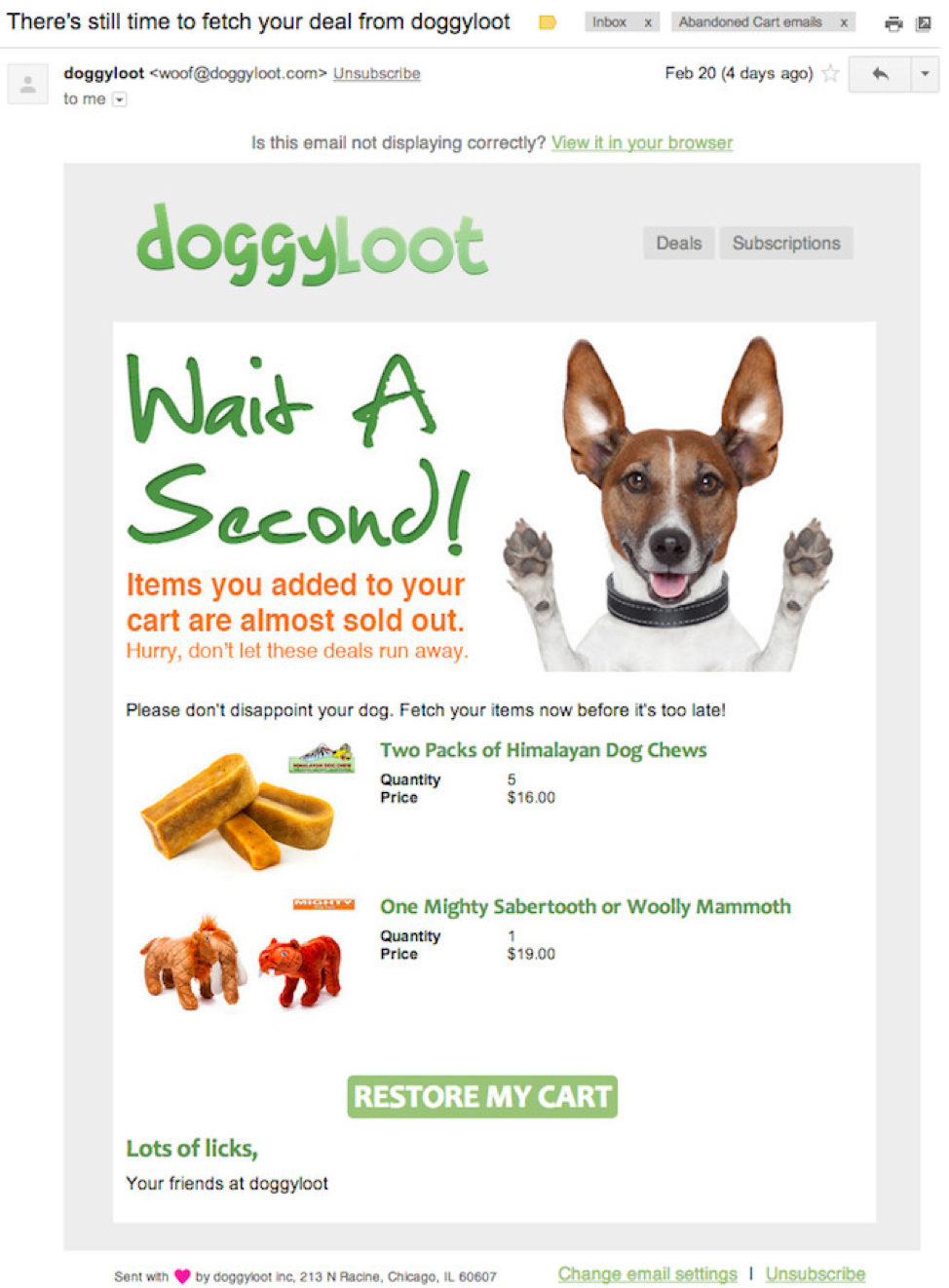 For example, Doggyloot uses emails that are simple and easy to digest.