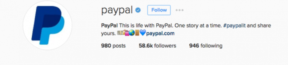 Paypal leverages a branded hashtag in its Instagram bio.