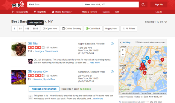 Yelp lets you see competitors and star reviews.