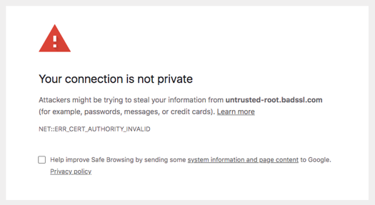 Most web browsers, including Google Chrome, will now display a security warning message to web visitors.