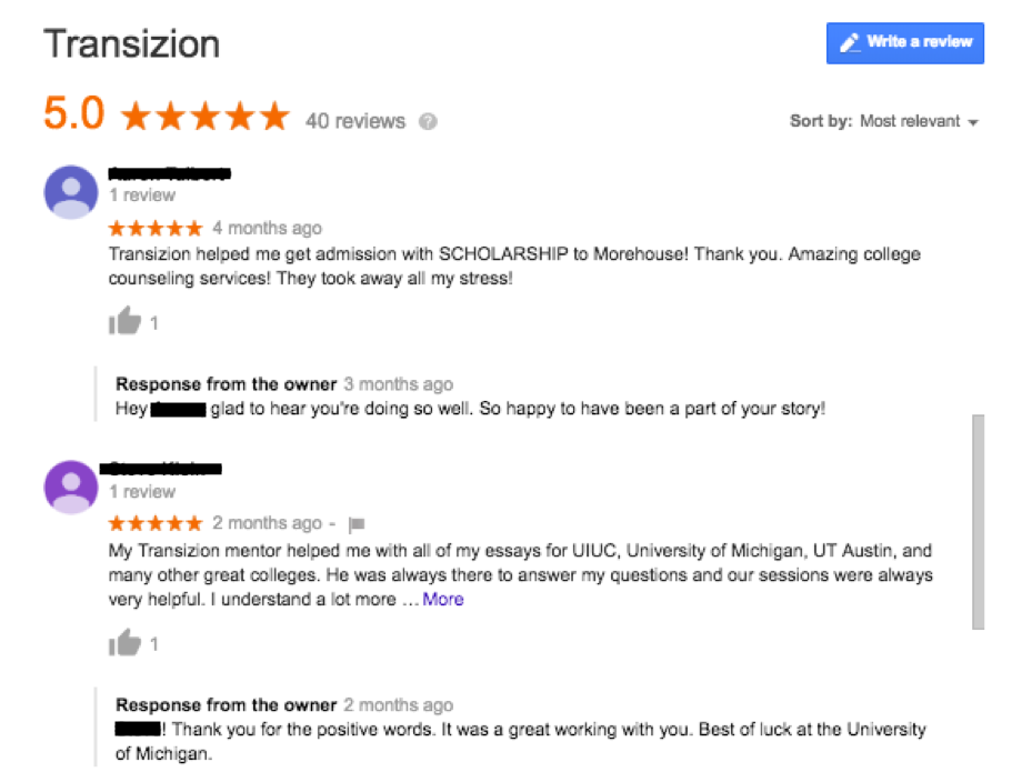 Transizion always responds to positive reviews, thanking the customer and wishing them luck in the future.