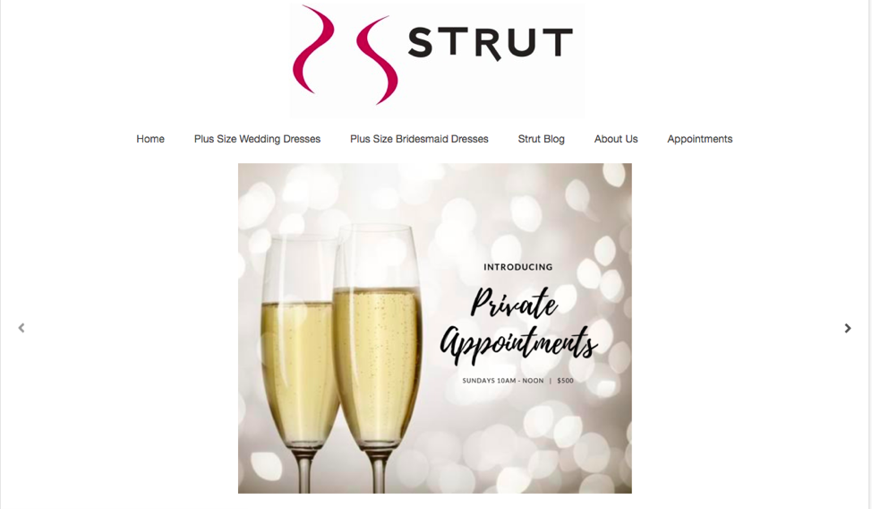"Campeau uses Strut Bridal Salon's website as a ""hub"" of information from other communication campaigns so that first-time visitors also have access to the information."
