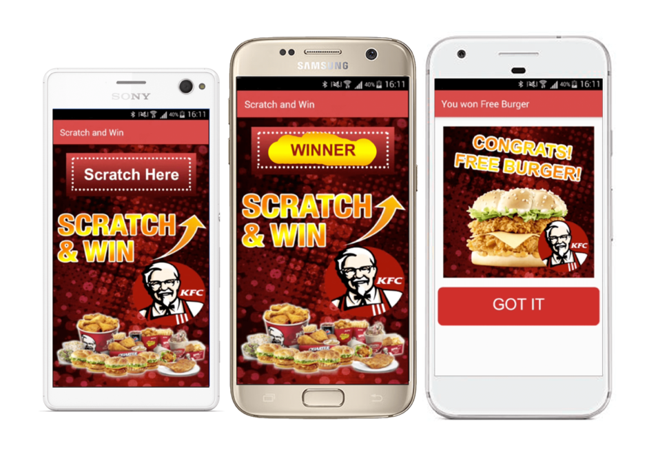 KFC engaged their customers through a digital lottery game on its mobile app.
