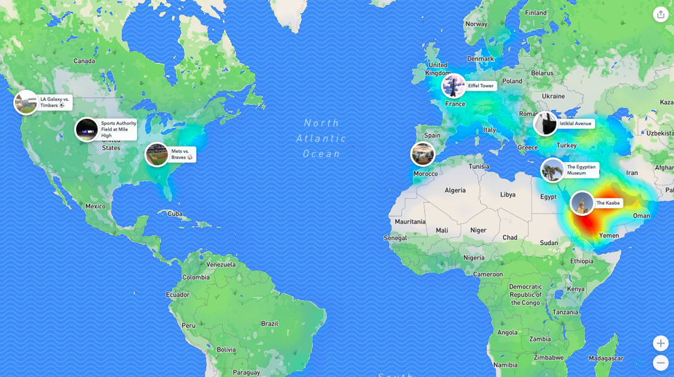 Snapchat's heat map feature can show people where the most snaps in the world are being taken.