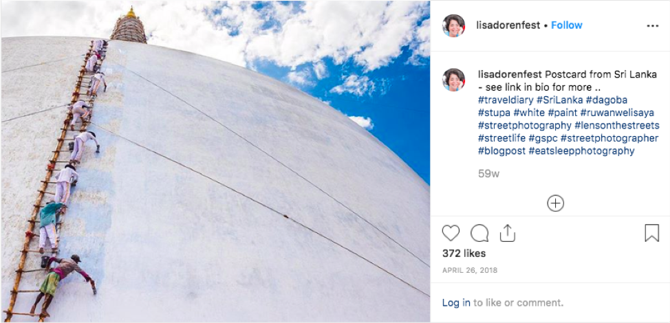For example, Dorenfest posted a photo of men standing on a single ladder painting a dome in Sri Lanka.