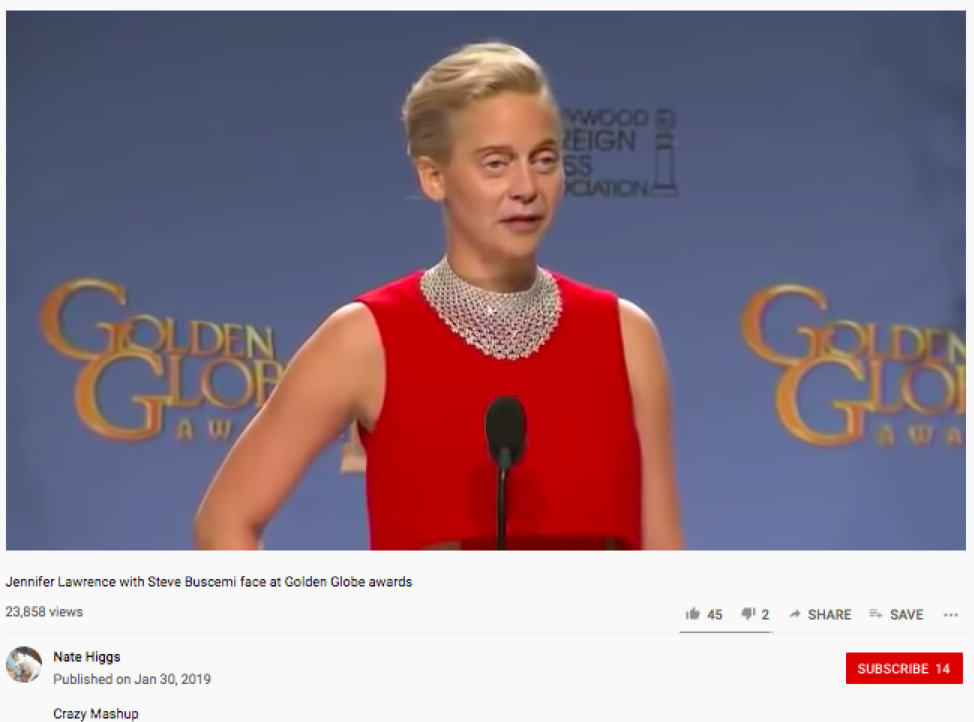 In January 2019, a deep fake featuring Jennifer Lawrence with Steve Buscemi's face circulated the internet.