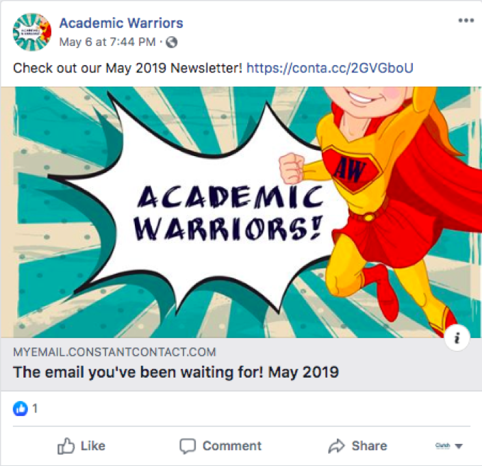 Academic Warriors uses Facebook to share information about its newsletter.