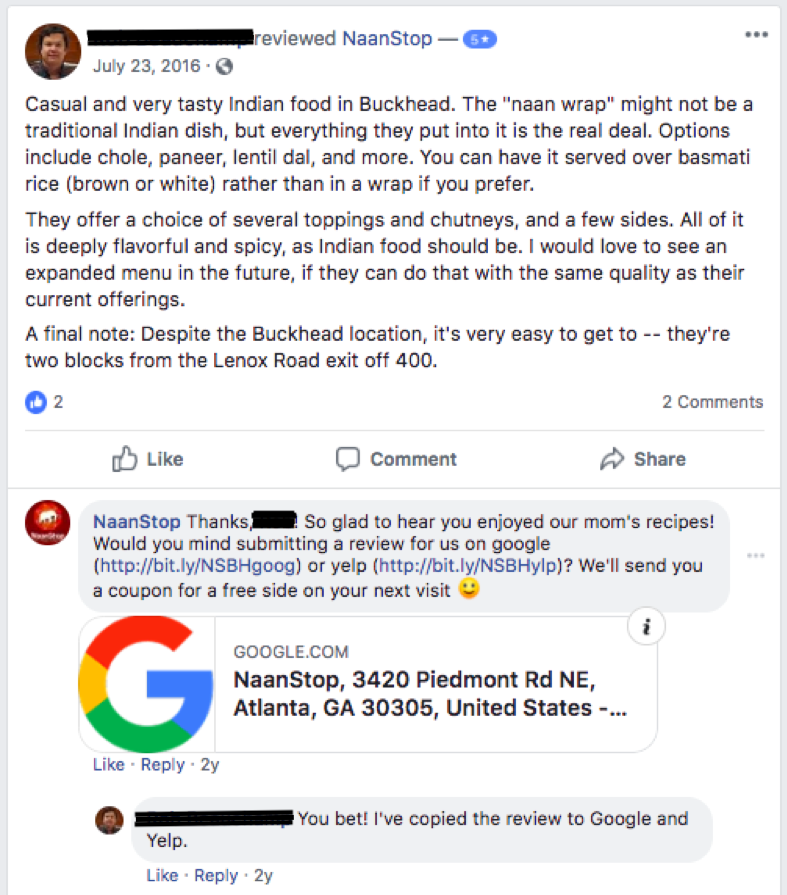 NaanStop encourages customers who leave positive reviews on social media to consider leaving a review on Google and/or Yelp as well.