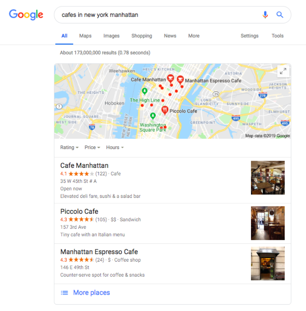 People who search for a specific type of business, such as a cafe, will find a listing of three businesses in the search results.