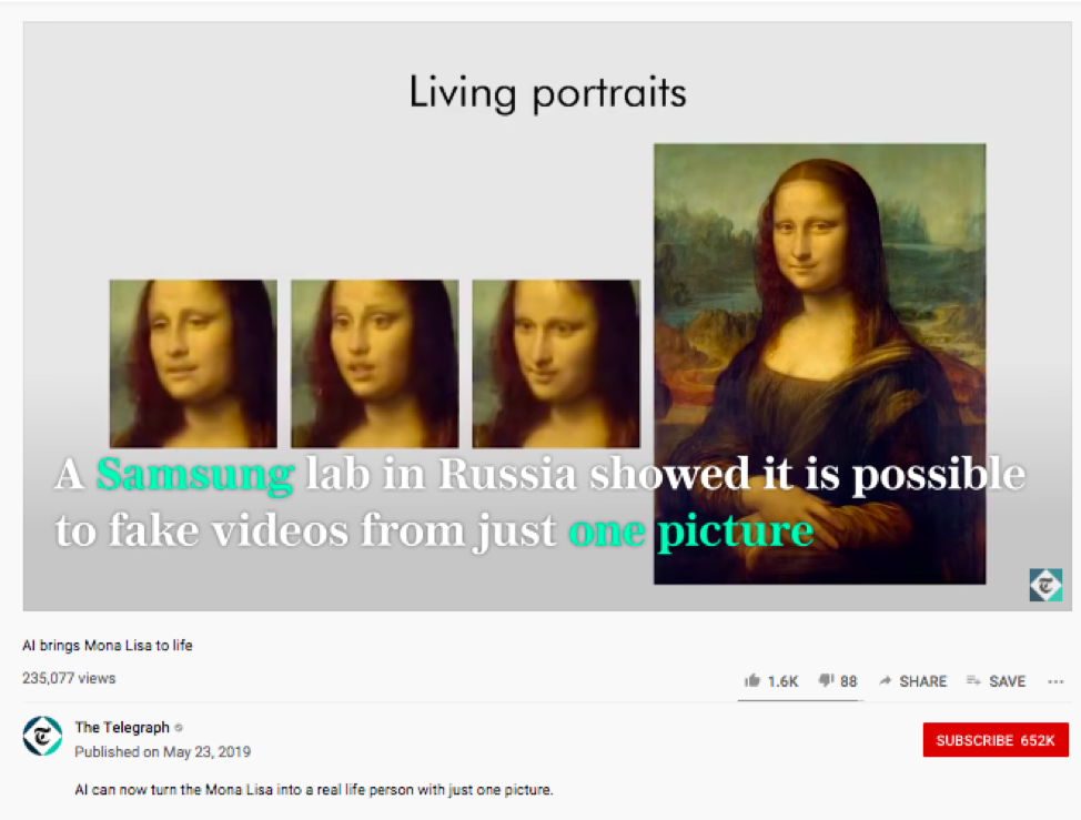Computer scientists created a deep fake of the Mona Lisa.