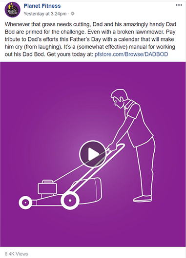 Planet Fitness Facebook ad