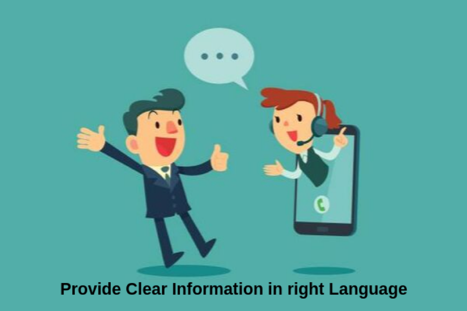 provide clear information in right language