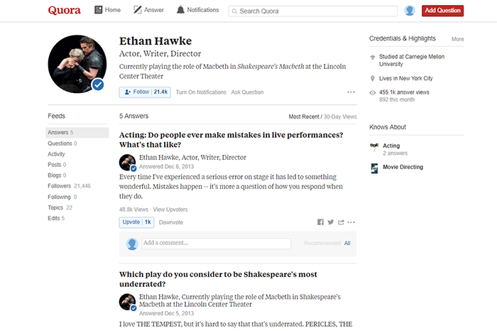 Ethan Hawke Quora page