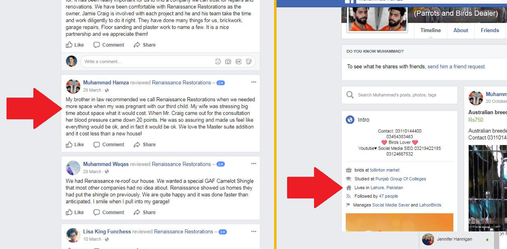Fake positive review on Facebook