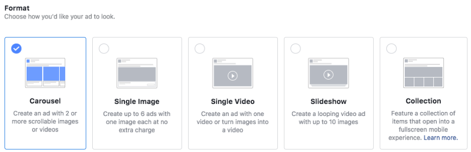You can select different styles of social media ads and test which work best with your audience.