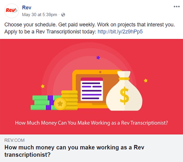 Rev Facebook job posting