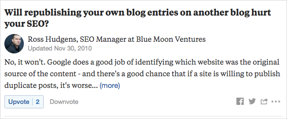 example of Ross Hudgens, founder and CEO of SiegeMedia, answering a question about SEO on Quora
