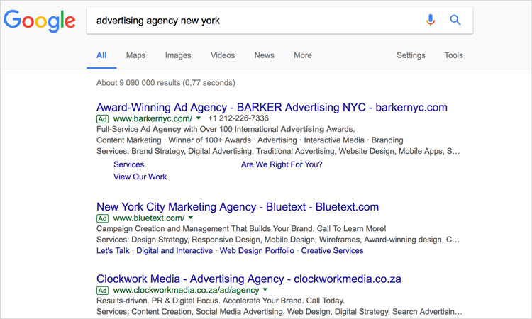 Screenshot of search engine results page