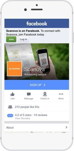 Scanova's Facebook page, which visitors can access through a QR code