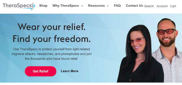 TheraSpecs' new website takes their customers' experience into account.