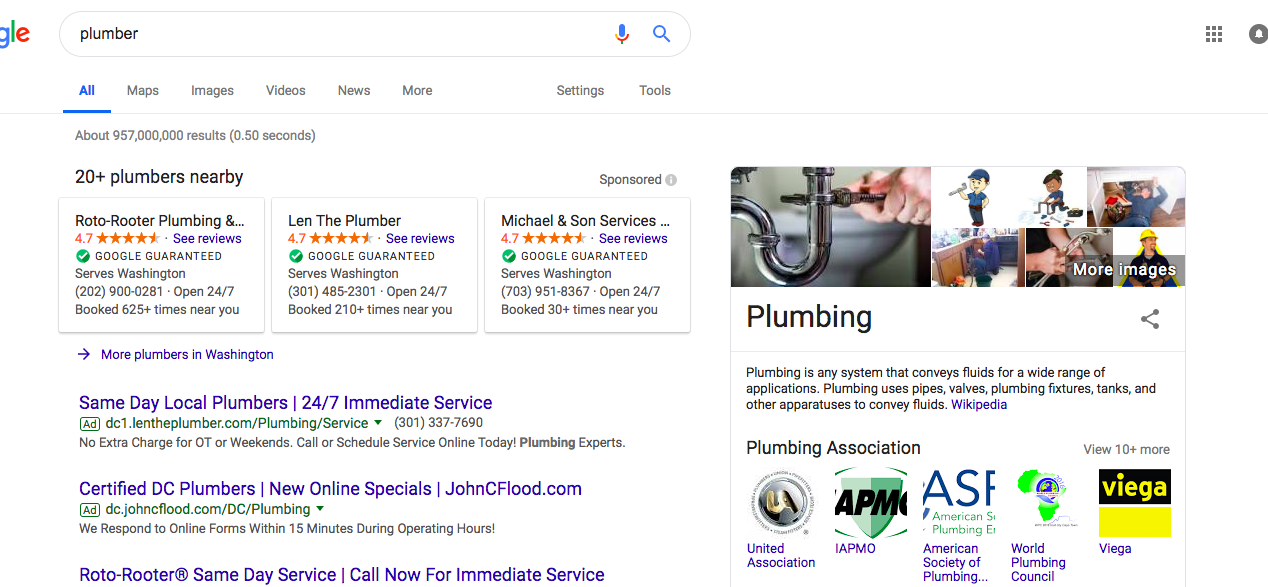 Google Search of Plumber
