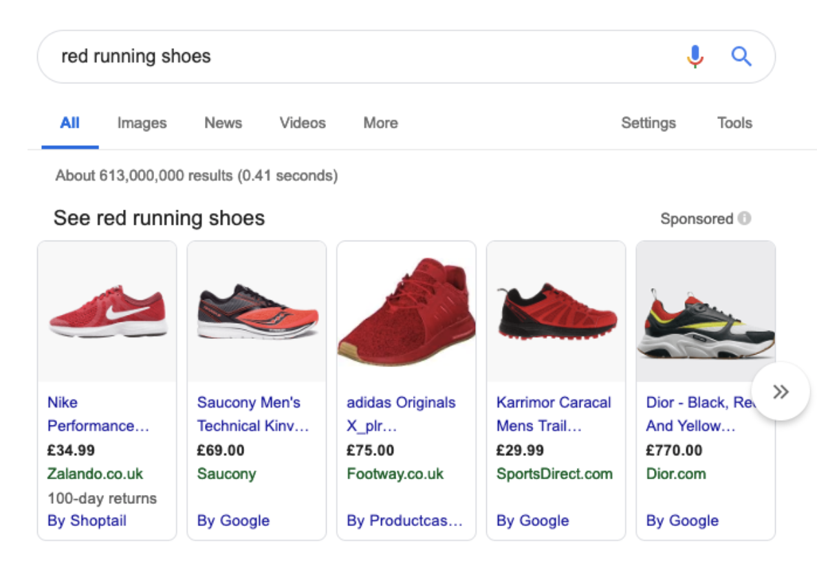 "Google search results for ""red running shoes"""