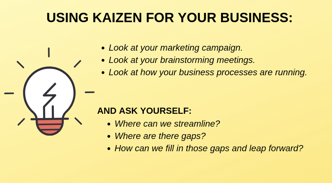List of ways to use Kaizen for your business