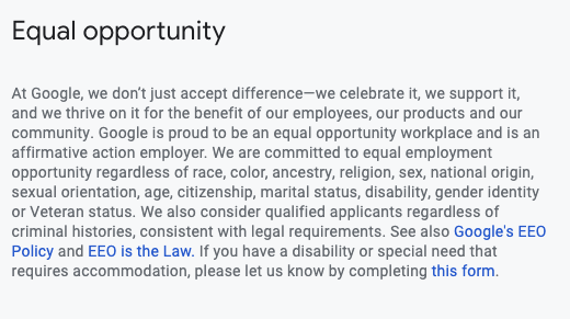Google's equal opportunity statement