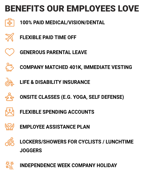 Payscale's list of benefits on its website