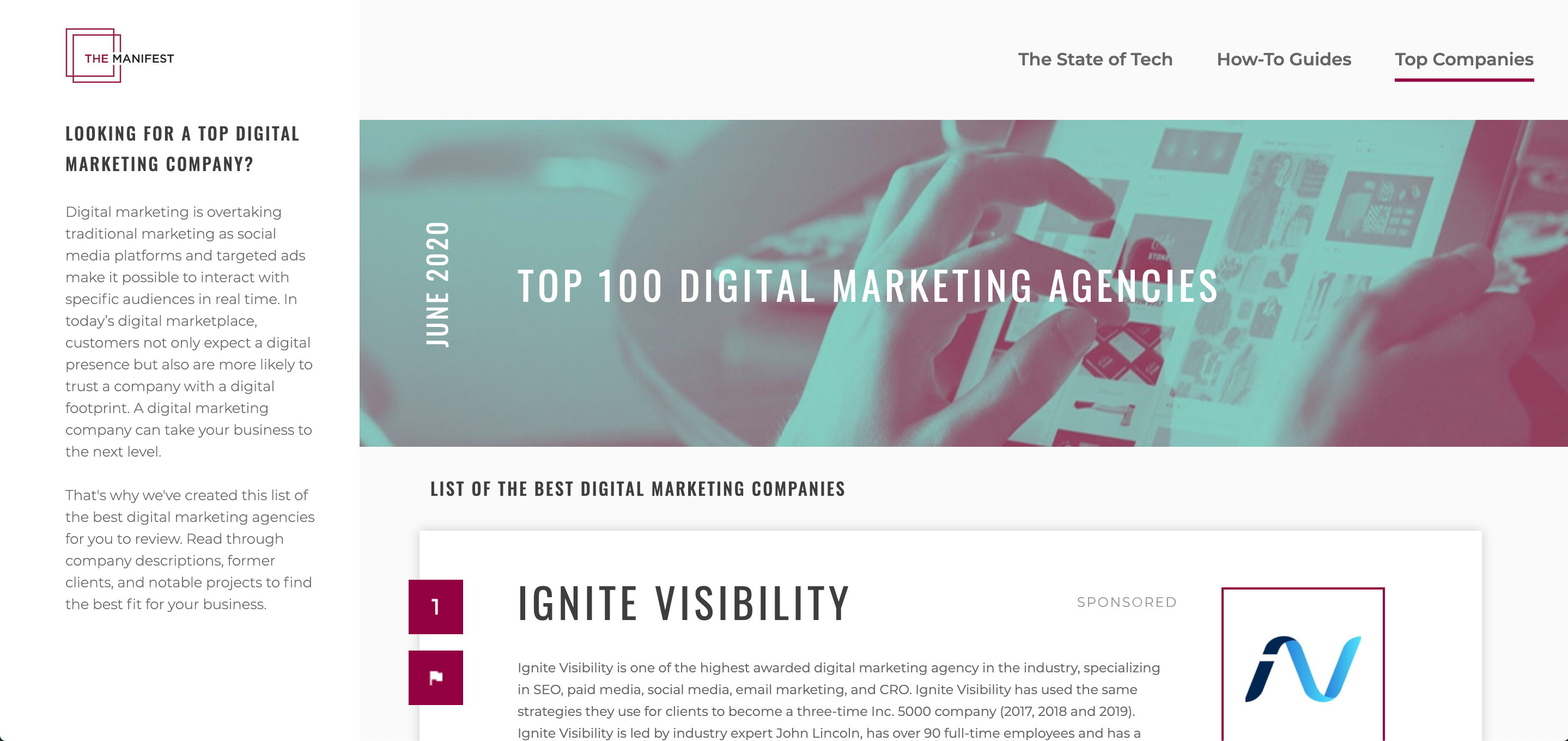 The Manifest Top 100 Marketing Strategy Agencies