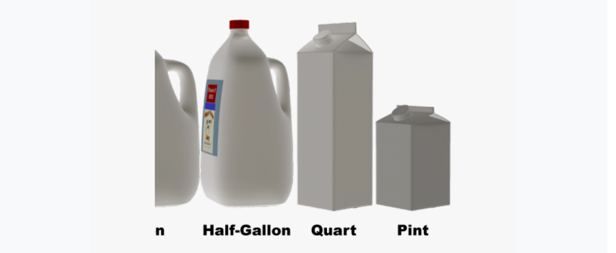 Different milk container sizes