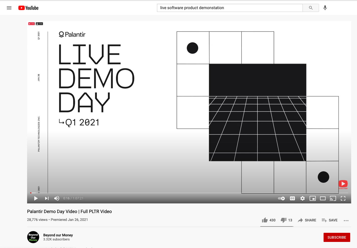 Palantir shares a webcast of their product demonstration event on YouTube