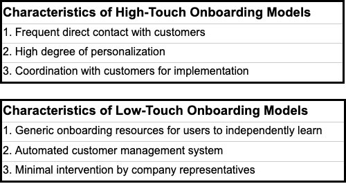High-touch and low-touch onboarding models offer different benefits to satisfy different users' needs.