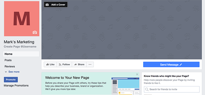 Screenshot of setting up a Facebook profile