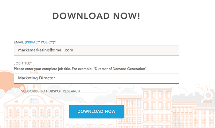 HubSpot's web form for gated content