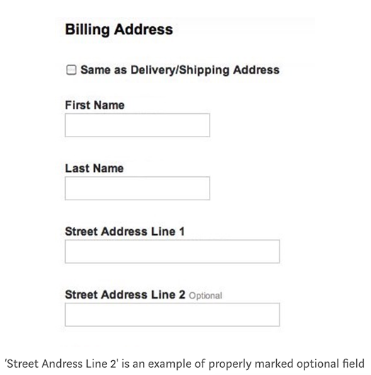 Screenshot of properly marked optional form