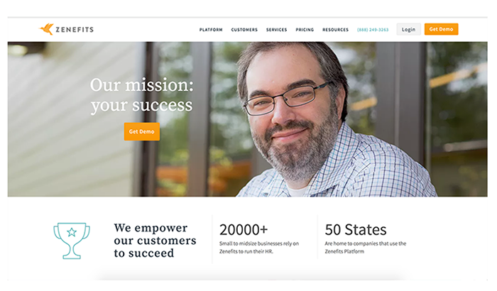 Zenefits home page