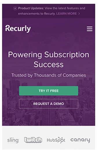 Screenshot of Recurly home page