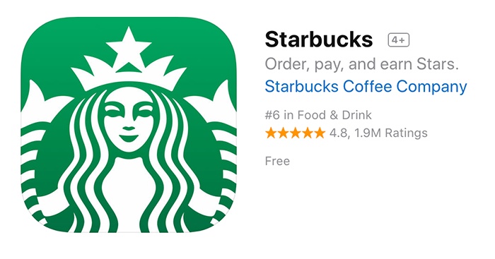 Starbucks app header