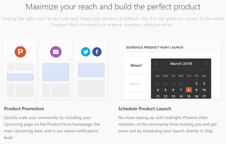 Product Hunt's tool, Ship, product promotion and launch scheduling features
