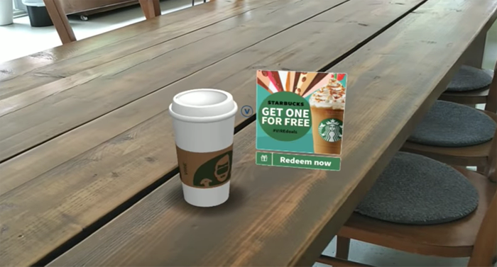 screenshot of starbucks' native ad that uses virtual reality (VR)