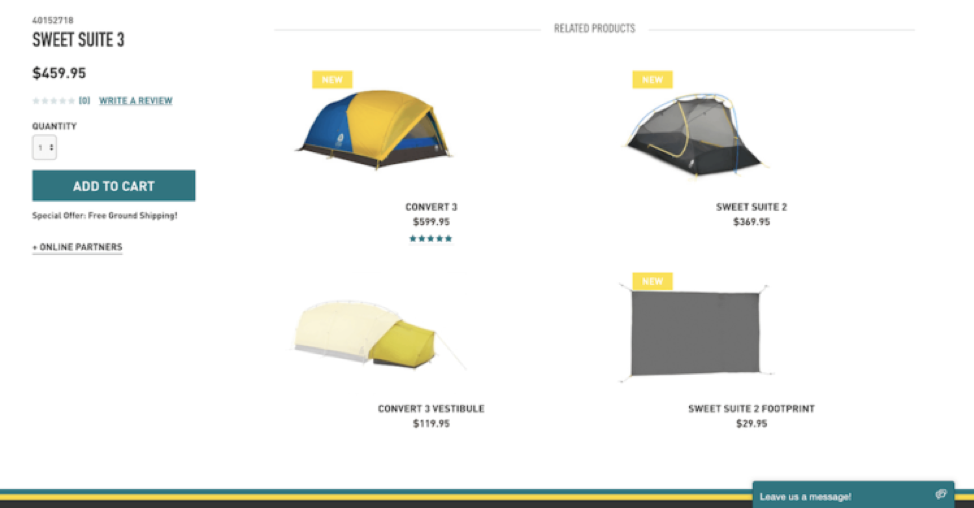 Recommended tents on an e-commerce site