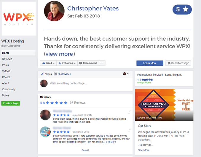 WPX Hosting Facebook page