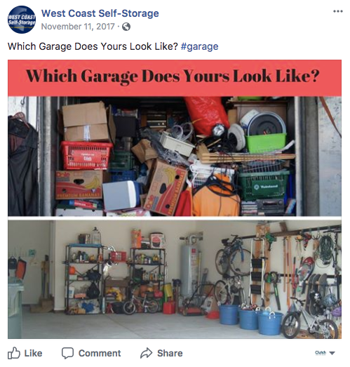 example of testing content on Facebook with two different images