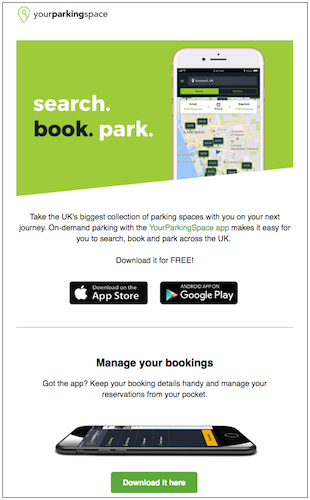 YourParkingSpace email marketing