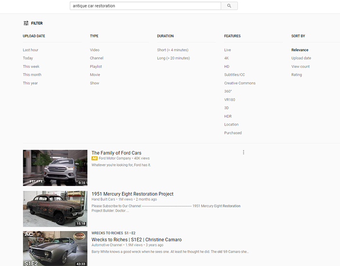 YouTube antique car search