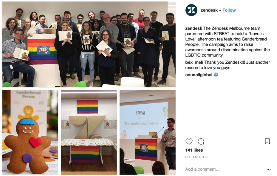 Zendesk shares involvement in LGBTIQ campaign on Instagram