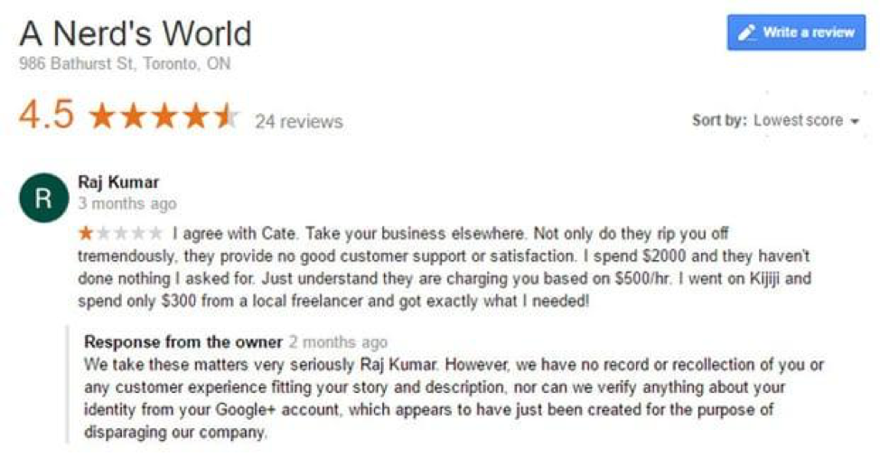 A Nerd's World Fake Negative Google Review